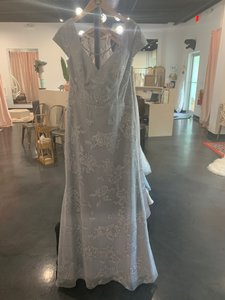 Hearts of Palm Silver/Pewter Mesh 5761 Traditional Bridesmaid/Mob Dress Size 14 (L)