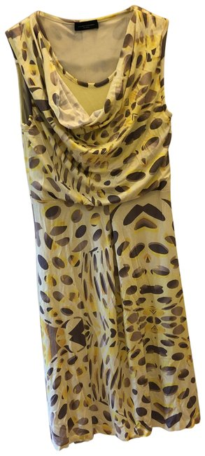 Item - Multi Print. Shades Of Yellow with Shades Of Brown. 10772923 Short Casual Maxi Dress Size 4 (S)