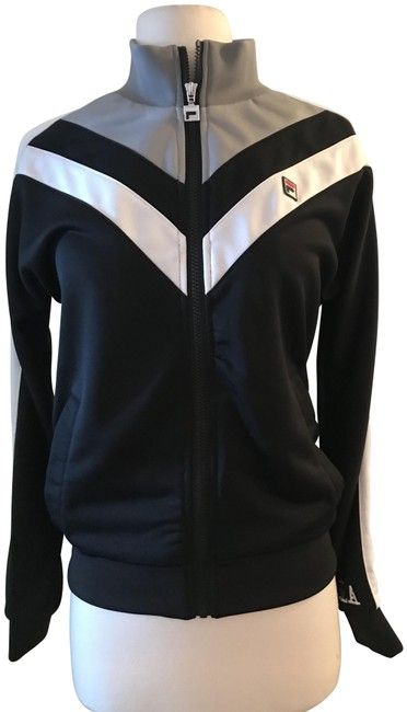 Item - Black White Grey Faith Track S. Activewear Outerwear Size 4 (S)