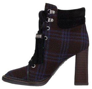 Sam Edelman Plaid Lace Up Stacked Heel Navy Multi Boots