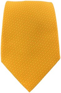 Hermès Yellow & Orange Woven Pattern Silk Tie 5205 IA