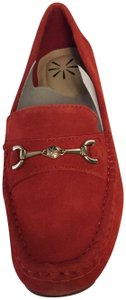 Isaac Mizrahi Live! Suede Loafer Red Flats
