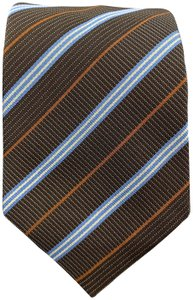 Hermès Brown Blue & Rust Diagonal Stripe Woven Silk Tie 758761 T