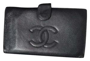 Chanel Caviar Single Flap CC Logo Long Wallet