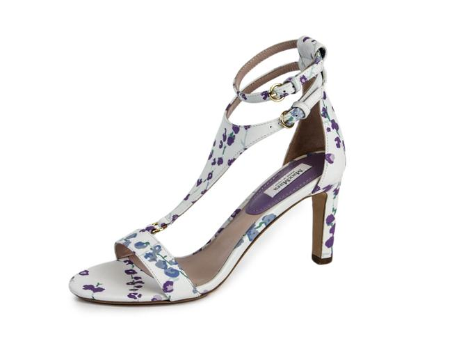 Item - White Ori Floral Jacquard T-strap Sandals Size US 6 Regular (M, B)