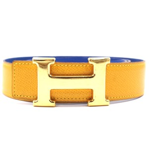 Hermès 32Mm classic gold H Reversible leather Belt Size 75
