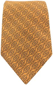 Hermès Woven Orange Silk Navy Horsebit Print Tie 758707 T