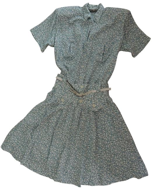 Item - Turquoise Blue and White Ladies 2 Pc Skirt + S/S Value Nwot Short Casual Dress Size 8 (M)