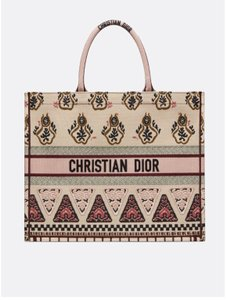 Dior Canvas Embroidered Tote in Pink