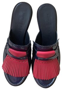 Burberry black, navy, red Mules