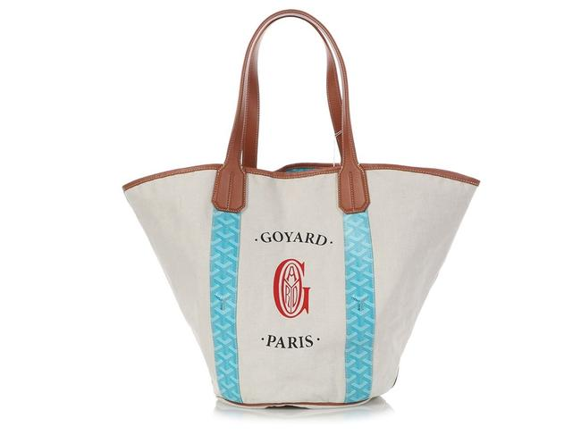 Item - Rare Limited Edition Belharra Mm Reversible Handle Monogram Blue Coated Canvas and Leather Tote