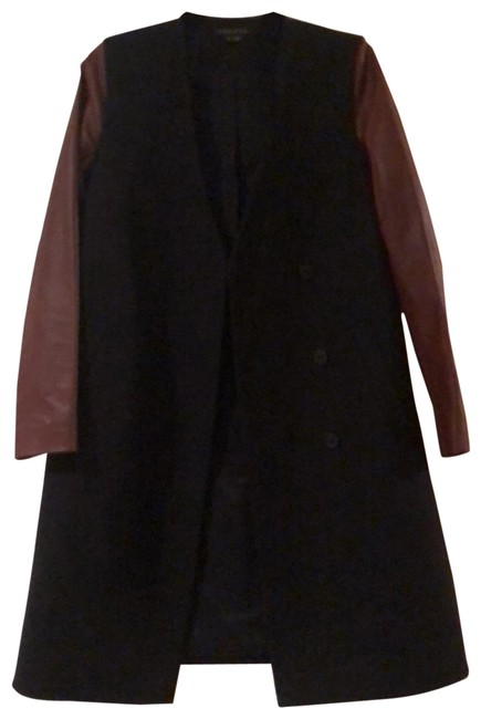 Item - Navy Wool/Tan Leather Wool/Leather Coat Size 6 (S)