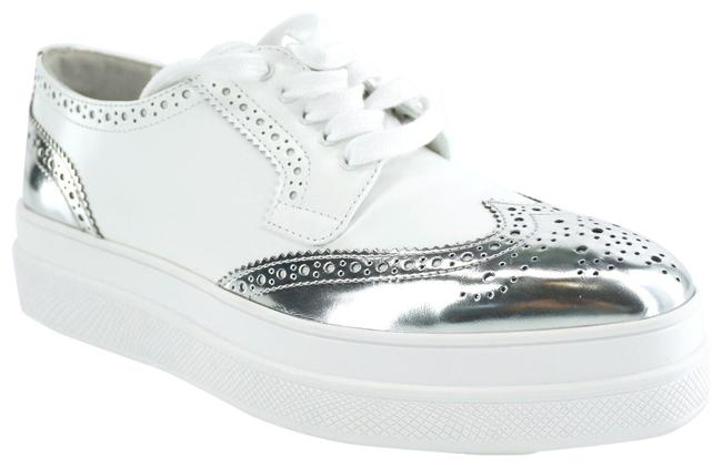 Item - White Silver Leather Wingtip Derby Platform Sneakers Size EU 36.5 (Approx. US 6.5) Regular (M, B)