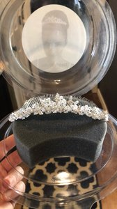 David's Bridal Silver and White Rhinestone Headband Hair Accessory