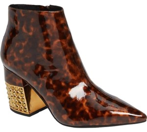 Jeffrey Campbell Crystal Pointed Toe Patent Ankle Tortoise Boots