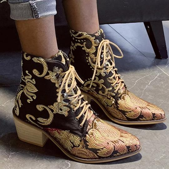 Preload https://img-static.tradesy.com/item/26052634/black-multicolored-women-s-retro-square-heel-embroidery-suede-pointed-toe-lace-up-bootsbooties-size-0-1-540-540.jpg
