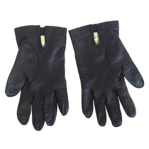 Hermès Black Paris Logo Winter Leather 8 Made In France Gloves