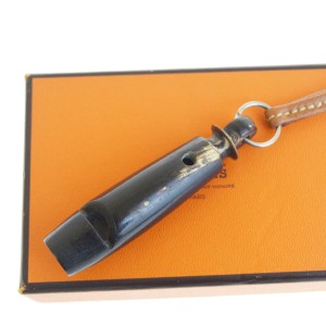 Hermès Brown Strap Whistle Leather Wood France Necklace