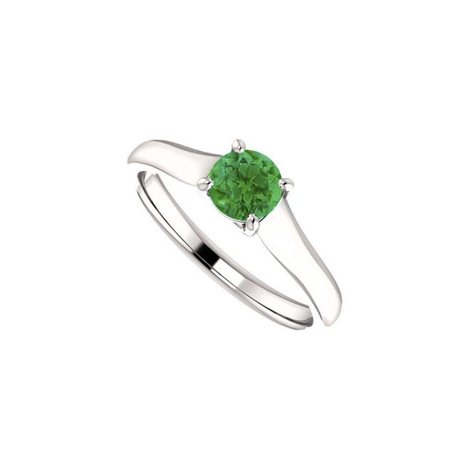 Green May Birthstone Emerald Engagement In 14kt White Gold 0.50 Ct Tgw Ring Green May Birthstone Emerald Engagement In 14kt White Gold 0.50 Ct Tgw Ring Image 1