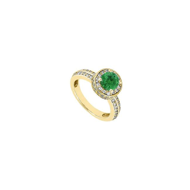 Green May Birthstone Created Emerald Cz Halo Engagement 14k Yellow Gold Ring Green May Birthstone Created Emerald Cz Halo Engagement 14k Yellow Gold Ring Image 1