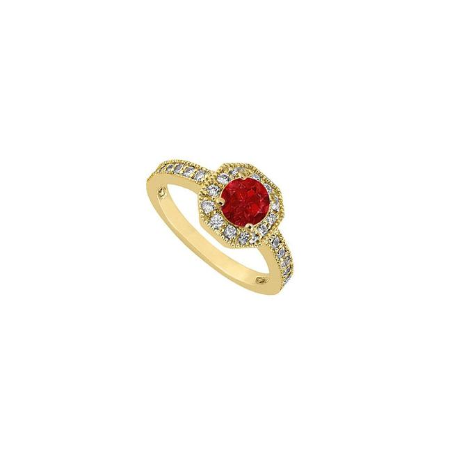 Red Birthstones Rubies and Cubic Zirconia Halo Engagement Yellow Gold Ring Red Birthstones Rubies and Cubic Zirconia Halo Engagement Yellow Gold Ring Image 1