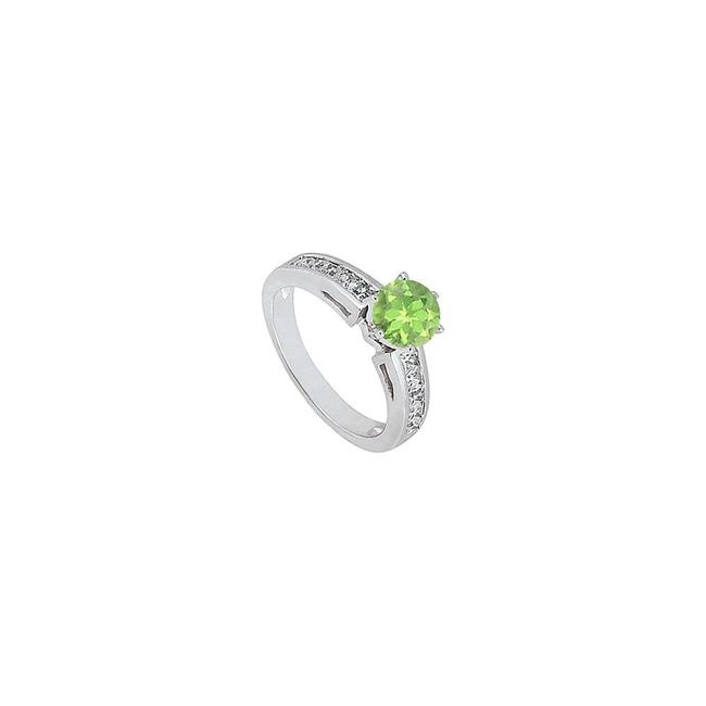Green August Birthstone Peridot and Cz Engagement 14k White Gold 1.50. Ring Green August Birthstone Peridot and Cz Engagement 14k White Gold 1.50. Ring Image 1