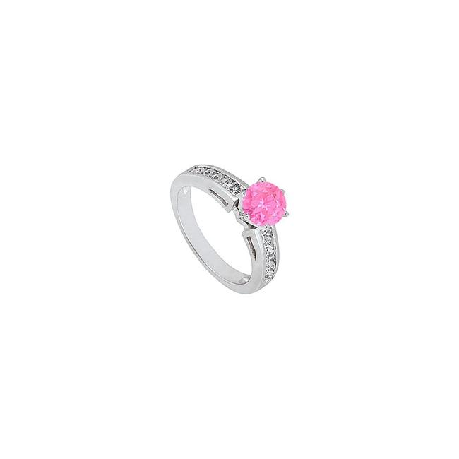Pink September Birthstone Created Sapphire and Cz Engagement Ring Pink September Birthstone Created Sapphire and Cz Engagement Ring Image 1