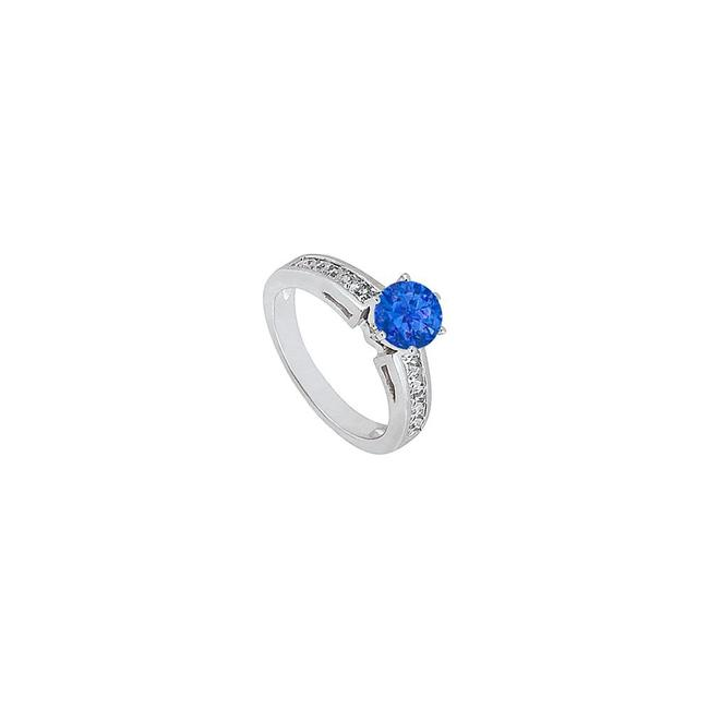 Blue September Birthstone Created Sapphire and Cz Engagement 14k Whit Ring Blue September Birthstone Created Sapphire and Cz Engagement 14k Whit Ring Image 1