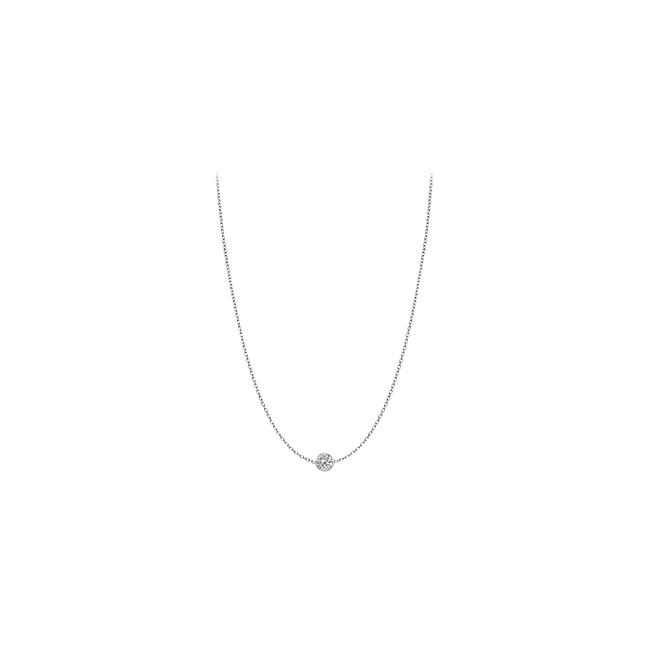 White Diamond Necklace In Bezel Set 14k Gold 0.25 Ct. Tdw Ring White Diamond Necklace In Bezel Set 14k Gold 0.25 Ct. Tdw Ring Image 1
