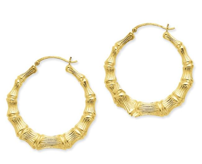 Apples of Gold Extra Large Bamboo Hoop In 14k Earrings Apples of Gold Extra Large Bamboo Hoop In 14k Earrings Image 1