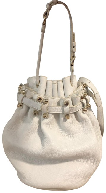 Item - Bucket Diego White with Silver Hardware Lambskin Leather Hobo Bag