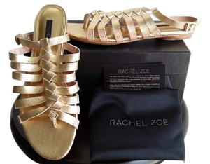 Rachel Zoe Carlyle Double Face Leather gold Sandals