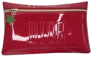 Dior Dior Red Cosmetic Zipper Patent Eco Leather Bag Pouch