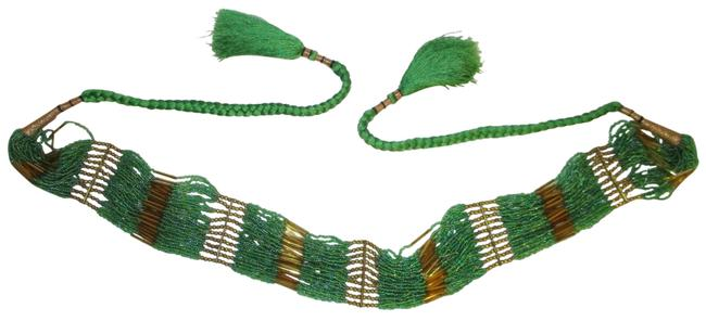 Green & Gold Vintage Beaded Tie Belt Green & Gold Vintage Beaded Tie Belt Image 1