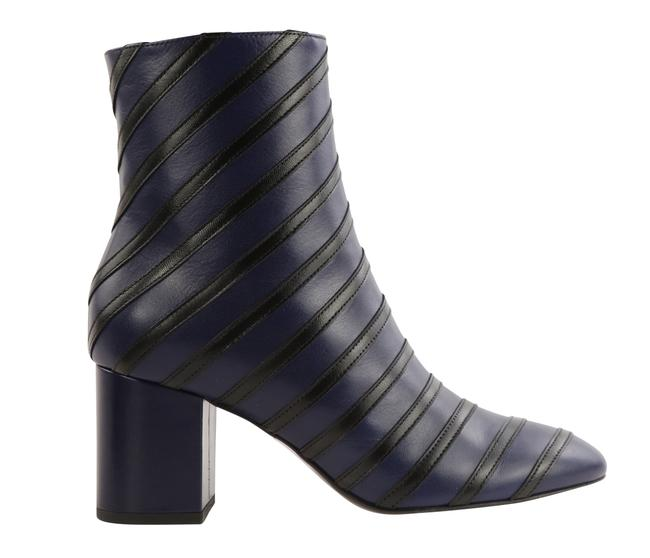 Item - Blue Leather Stripe Detail Chunky Heel Boots/Booties Size EU 38 (Approx. US 8) Regular (M, B)
