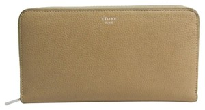 Céline Celine Large Ziped Multifunction 105003 Women's Calfskin Long Wallet (bi-fold) Red,Beige