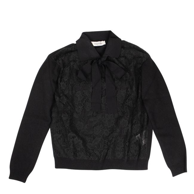 Item - Laced Front Collared Black Sweater
