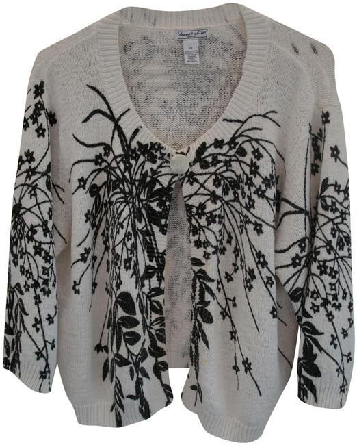 Preload https://img-static.tradesy.com/item/26054247/white-and-black-vintage-deane-and-floral-one-button-cardigan-size-12-l-0-2-650-650.jpg