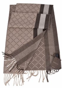 Gucci New Gucci Angora Wool Taupe & Brown Web Stripe Diamante Scarf