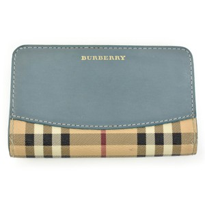"Burberry Leather & ""Haymarket Check"" Logo Folding (tp)"