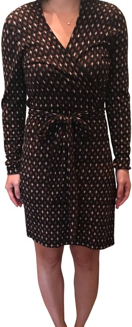 Diane von Furstenberg Black and Brown Wrap Mid-length Work/Office Dress Size 6 (S) Diane von Furstenberg Black and Brown Wrap Mid-length Work/Office Dress Size 6 (S) Image 1