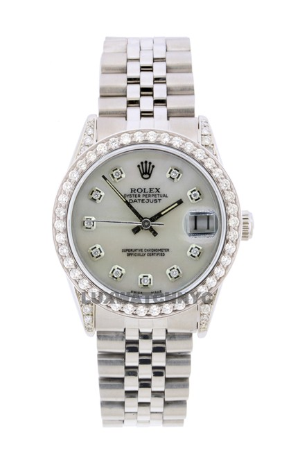 Rolex White Mop Dial W 2.50ct 36mm Datejust S/S W/ & Appraisal Watch Rolex White Mop Dial W 2.50ct 36mm Datejust S/S W/ & Appraisal Watch Image 1