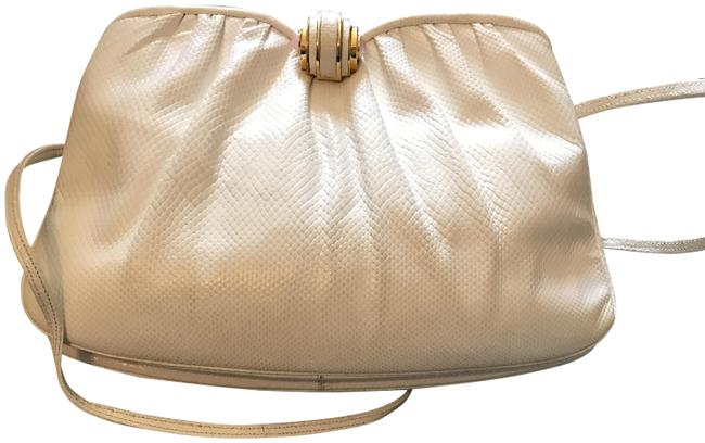 Item - Evening Bag White Watersnake Skin Leather Clutch