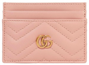 Gucci NEW GUCCI GG LOGO PINK LEATHER CARD CASE WALLET NEW