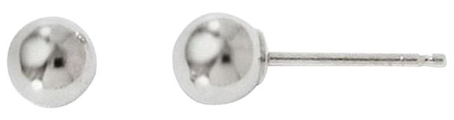 Apples of Gold 4mm Polished Ball Stud 14k White Earrings Apples of Gold 4mm Polished Ball Stud 14k White Earrings Image 1