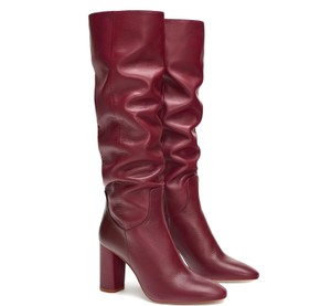 Zara Over The Knee Stretch Suede Pull On Leather Winter Red burgundy Boots