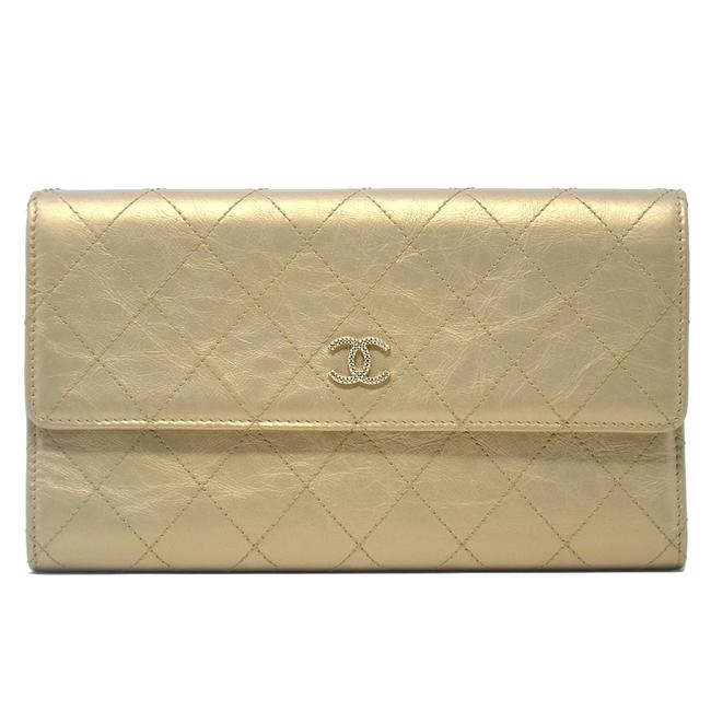 Chanel Yellow Tri Fold Gold Quilted Distressed Leather Wallet Chanel Yellow Tri Fold Gold Quilted Distressed Leather Wallet Image 1