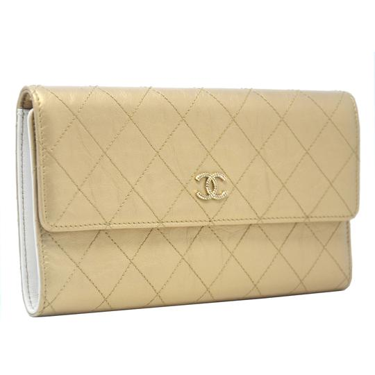 Chanel Chanel Tri Fold Gold Quilted Distressed Leather Wallet Image 1