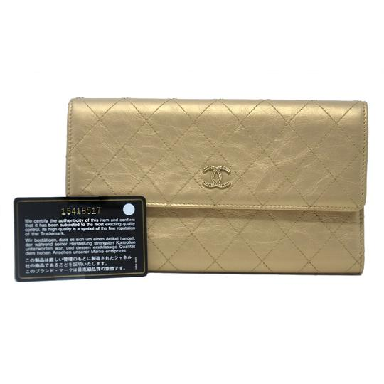 Chanel Chanel Tri Fold Gold Quilted Distressed Leather Wallet Image 10