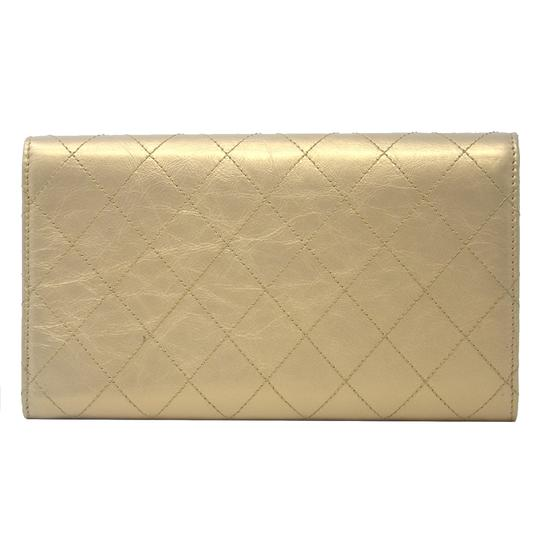 Chanel Chanel Tri Fold Gold Quilted Distressed Leather Wallet Image 2